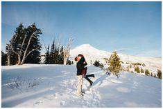 Engagement photos at Timberline Lodge on Mt Hood