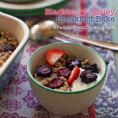 Blackberry Barley Breakfast Bake Recipe on FamilyFreshCooking.com photos © MarlaMeridith.com