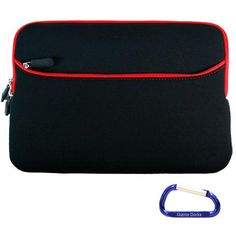 nice Gizmo Dorks (Black with Lava Red Trim) Dual Pocket Zipper Laptop Carrying Case Sleeve (Checkpoint Friendly) with Carabiner Key Chain for the Apple MacBook Pro (13.3 Inch Display)
