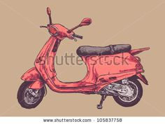 retro scooter drawing style vector illustration.