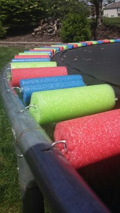 So much safer now-Pool noodle trampoline
