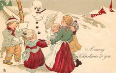 A MERRY  CHRISTMAS TO YOU  five children  hold hands dancing round snowman holding his stave