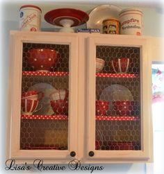 A creative DIY display cabinet using chicken wire.