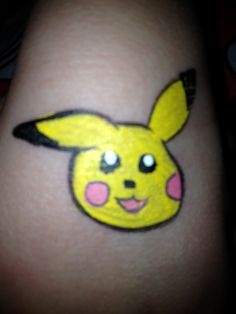 """Pikachu (A.K.A. """"That Yellow Bunny"""", as my client called it.) - Face Painting by Jennifer Van Dyke"""