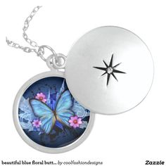 beautiful blue floral butterfly necklace