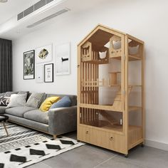 Cat Villa Solid wood luxury cat cage cat cabinet cat house cat apartment custom glass display cabinet luxury double-storey three-story. Cat Cages Indoor, Cat Apartment, Glass Cages, Diy Cat Bed, Cat Fence, Glass Showcase, Cat Hotel, Animal Room, Cat Room