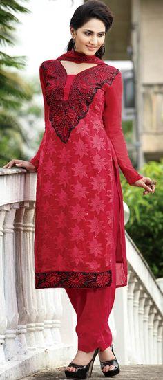 #Red Faux Georgette #Salwar Kameez @ $147.86