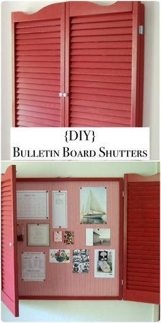 {DIY} BULLETIN BOARD SHUTTERS!!! Brilliant! I'm doing this! Dress it up with a pop of color and vintage crystal knobs...Love!!!