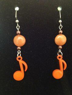 Orange and Brown Music Note Earrings by queenofqeeks on Etsy, $8.00
