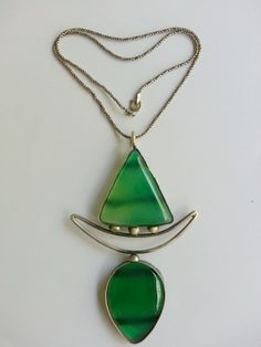 Green agate stone 925 sterling silver necklace. by BerArt on Etsy, $125.00