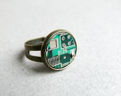 Circuit board geekery adjustable ring Small Green by ReComputing, $10.00
