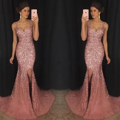 Crystal Beaded Prom Dress Mermaid ,Long V Neck Formal Dress,Mermaid Evening Dress,Pageant Dresses
