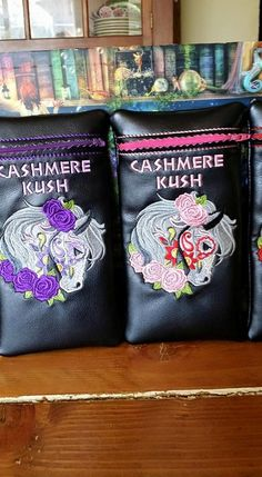 Custom Pretty Horse cashmere kush glass pipe pouch by RedNeckRagsCreations on Etsy