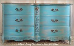 Gold and Tourquise damask dresser by Attic Angel furniture
