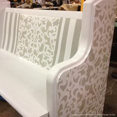 Donatella Damask Stencil - Love it combined with the stripes.