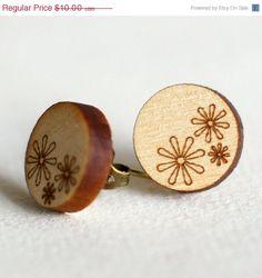 Daisy Laser Engraved Cut Wooden Earrings Studs by DaniMakes, $10.00