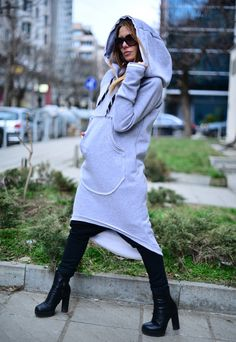 Womens Dress  / Asymmetric Extravagant Light Grey Hooded Dress / Maxi Top  / Hooded Dress / Quilted Cotton Hooded Dress by EUG Fashion