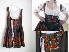 Vintage Dirndl Dress SHORT German brown by SuitcaseInBerlin