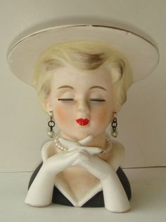 Vintage Rubens Original Lady Head Vase Hat Pearl Earrings Long Lashes Red Lips