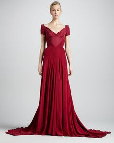 Off-the-Shoulder Sweetheart-Neck Gown, Tuscan Red by Zac Posen at Neiman Marcus.