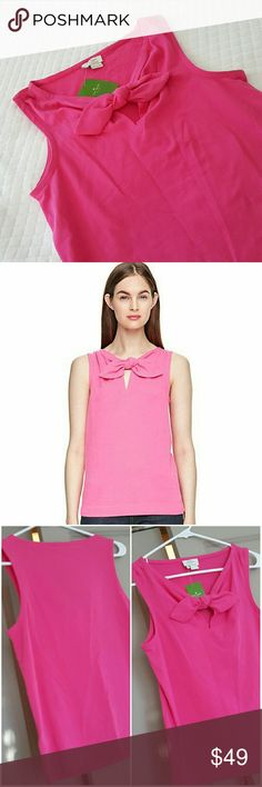 """Kate Spade Pomona Tank Self fabric bow at center front chest Keyhole neck opening  Sleeveless  Fitted pullover self tying bow  95% cotton, 5% spandex  Bust 33"""" Length 25""""  Thanks for stopping by and shopping my closet  Check out my other listings  Ask me about custom bundles and save more money kate spade Tops"""