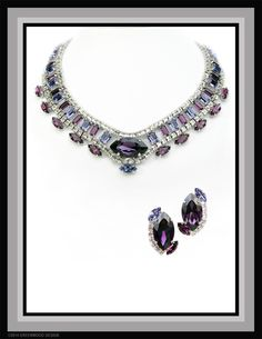 Women's statement parure set with unusual and beautiful blend of Amethyst, Tanzanite and Violet crystal in this elegant necklace and earrings - white rhodium plated by Bryan Greenwood of Crystal Countess / Jewellery by Greenwood Design