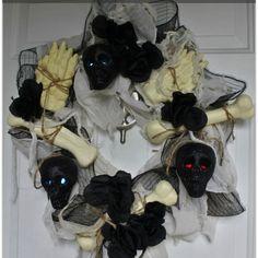 Spooky Skulls & Beautiful Bones Halloween Wreath  ~Made from Dollar Tree Supplies ~Full Tutorial