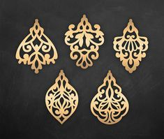 Set Ornamental Pendant templates, vector Cutting File / SVG, DXF, PNG faux leather earrings, Cricut / Silhouette Cameo bijouterie design