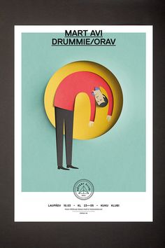 At Rótary Klubi parties the music always plays through a rotary mixer. Therefore a circle and a somewhat puzzled man are always present on the posters. Illustrations by Eiko Ojala