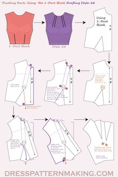 Using the Block, pivot the waist dart to the neckline to create 2 Parallel Darts. Dress Sewing Patterns, Sewing Patterns Free, Sewing Tutorials, Clothing Patterns, Kurti Patterns, Pattern Sewing, Pattern Drafting, Techniques Couture, Sewing Techniques