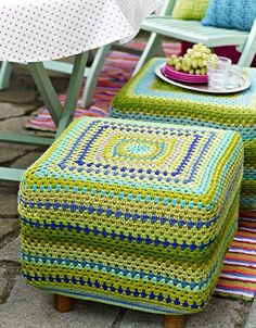 Crochet Footstool Cover by Hendes Verden
