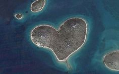 Heart-shaped island highlighted by Google Earth becomes hit with lovers. The 130,000 square yard islet of Galesnjak came to prominence after its unusual shape was highlighted on Google Earth.