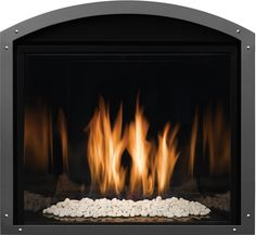 Model FV41 Insert with Wide Grace Arch front in Vintage Iron finish and optional corner Rivets. Fireplace Fronts, Fireplace Inserts, Gas Fireplace, Vintage Iron, Hearth, Corner, Doors, Model, Home