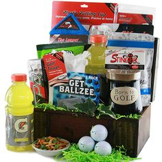 Golf Gifts World of Golf Golf Gift Basket - A Golfer's dream come true.this truly magnificent collection of golf gear and refreshing snacks will keep 'em going from the Front 9 all the way through to the Back It's simply out of this world! Golf Ball Crafts, Themed Gift Baskets, Raffle Baskets, Homemade Fathers Day Gifts, Perfect Golf, Golf Towels, Golf Gifts, Craft Gifts, Home Improvement