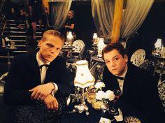 Taron Egerton & Charley Palmer Rothwell on the set of 'Legend'