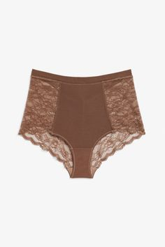 2a73efc95093 High waist lace briefs New Underwear, Lace Back, Monki, Light Beige, Bikinis