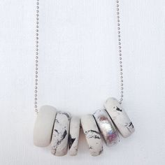 Marble effect clay necklace by ethereal0design on Etsy