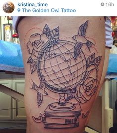 World Globe Tattoo with Rose and Birds #traditional #blackandwhite #outline