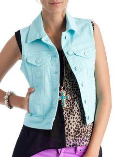 solid colored denim vest $31.70