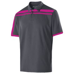 Holloway Men's Carbon/Power Pink Closed-Hole Charge Polo