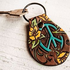 Peace Symbol Leather Keychain - Floral hand painted and hand stamped Fob - Your Choice of Keychain Style