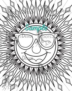 INSTANT DOWNLOAD Coloring Page Sun Mandala Art Print