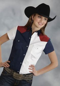 Roper® Womens Red, White & Blue Colorblocked Short Sleeve Snap Cowgirl Shirt