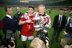 Cantona and Schmeichel with the 1994 FA Cup. Manchester United Top, Eric Cantona, Sir Alex Ferguson, Premier League Champions, Wayne Rooney, Fa Cup, Man United, Cristiano Ronaldo, The Unit