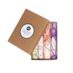 Image of Boxed Gift Set of 4 hand-illustrated Napkins...