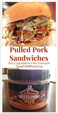 Pulled Pork Sandwiches {Sweet & Smoky in the Crock-Pot} So simple to make - only 2 ingredients to make the pork! Great meal for a busy day!  So good, my nephews cheer for this dinner!   SweetLittleBluebird.com