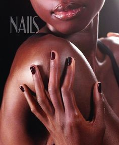This nail salon poster features a fresh manicure that shows off fashionable dark tone nail polish. - $1