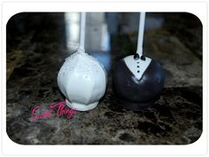 Bride and groom cake pops   sweetthingsbywendy.ca Cake Pop Favors, Party Favours, Edible Favors, Groom Cake, Cake Pops, Sticks, Treats, Bride, Sweet