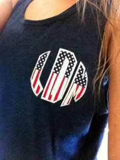 American Flag Applique Monogram Tank Top $13.00