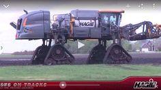 Hagie sprayer on tracks